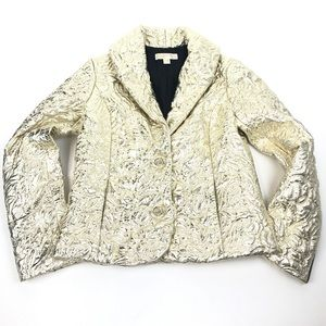 Michael Kors Gold Jacquard Puffer Blazer Jacket